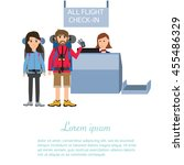 passengers check in and waiting ... | Shutterstock .eps vector #455486329