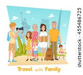 happy family with children... | Shutterstock .eps vector #455486725