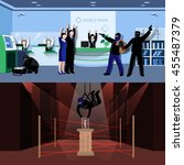 armed burglars committing theft ... | Shutterstock .eps vector #455487379