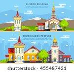 beautiful historic church... | Shutterstock .eps vector #455487421