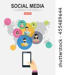 social media network. growth... | Shutterstock .eps vector #455489644
