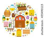 big vector set apiary.... | Shutterstock .eps vector #455490115