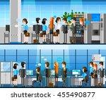 cartoon office people indoor... | Shutterstock .eps vector #455490877