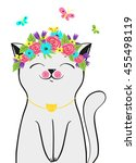 Cute Smiling Cat With Flowers...