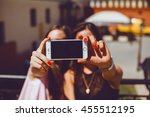 beauty girls make selfie in the ... | Shutterstock . vector #455512195
