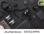 work space on black table of a... | Shutterstock . vector #455514994