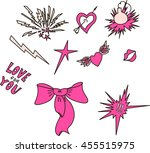 set of quirky cartoon patch... | Shutterstock .eps vector #455515975