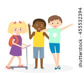 children friends. three friends ... | Shutterstock . vector #455532394