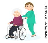 handicapped senior woman in a... | Shutterstock . vector #455532487