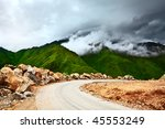 Mountain Road At Rainy Day Wit...