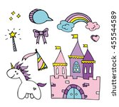 magic set with cute unicorn ... | Shutterstock .eps vector #455544589