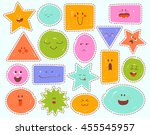 childrens cartoon faces with... | Shutterstock .eps vector #455545957