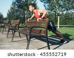 sports man doing push ups... | Shutterstock . vector #455552719