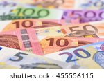many euro banknotes in detail... | Shutterstock . vector #455556115