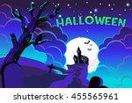 halloween poster castle... | Shutterstock .eps vector #455565961
