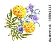 marigold with bell flowers  | Shutterstock . vector #455568865