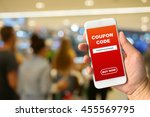 woman hand holding smartphone...   Shutterstock . vector #455569795