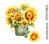 watercolor sunflowers bouquet ... | Shutterstock . vector #455570821