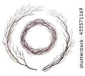 watercolor twig wreath | Shutterstock . vector #455571169