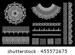 a set of knitted items  crochet ... | Shutterstock .eps vector #455572675