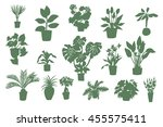 home plants silhouette set | Shutterstock . vector #455575411