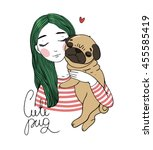 beautiful young girl and a cute ... | Shutterstock .eps vector #455585419