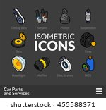 isometric outline t icons  3d...