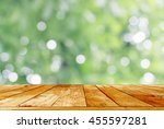 wooden table top on abstract... | Shutterstock . vector #455597281