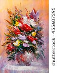 oil painting a bouquet of... | Shutterstock . vector #455607295