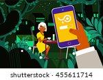 romantic girl in a restaurant | Shutterstock .eps vector #455611714