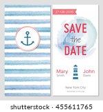 marine wedding invitation.... | Shutterstock .eps vector #455611765