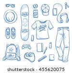 set of personal belongings ... | Shutterstock .eps vector #455620075