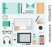 workplace of designer with... | Shutterstock .eps vector #455622871
