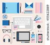 workplace of designer with... | Shutterstock .eps vector #455622889