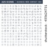 set vector line icons in flat... | Shutterstock .eps vector #455624731