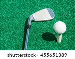 golf club and ball on a stand... | Shutterstock . vector #455651389