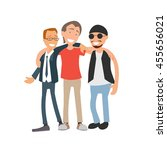 group of three hugging male... | Shutterstock .eps vector #455656021