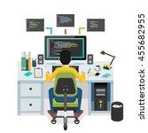 programmer working on computer. | Shutterstock .eps vector #455682955