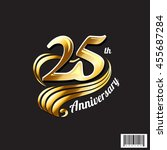 gold 25 th anniversary logo and ... | Shutterstock .eps vector #455687284
