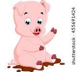 cute pig cartoon   Shutterstock . vector #455691424