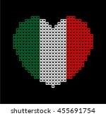 italy flag shape heart on black ...   Shutterstock .eps vector #455691754