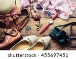 clothing for women  placed on a ... | Shutterstock . vector #455697451
