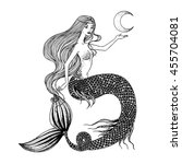beautiful mermaid with moon in... | Shutterstock .eps vector #455704081