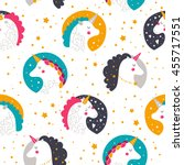 background with baby unicorn.... | Shutterstock . vector #455717551