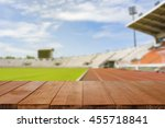 empty brown wooden table top on ... | Shutterstock . vector #455718841