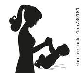 black silhouette mother and...   Shutterstock .eps vector #455730181