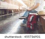 asian traveler man with... | Shutterstock . vector #455736931