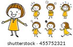 girls  various poses | Shutterstock .eps vector #455752321