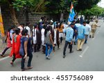 Small photo of HYDERABAD,JULY 20:Activists of National Students Union of india take a march / procession agitating against drunk and drive practice on July 20,2016 in Hyderabad,India