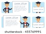 set of female graduate... | Shutterstock .eps vector #455769991